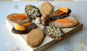 Sablés aux fruits secs, chocolat et mandarines confites
