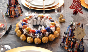 Centre de table et marque-places en chocolat