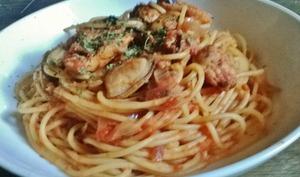 Spaghetti aux Moules, Tomates et Safran