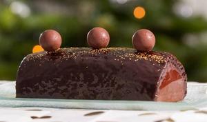 Bûche de Noël chocolat poires