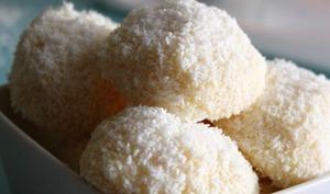 Truffes blanches au chocolat blanc et noix de coco