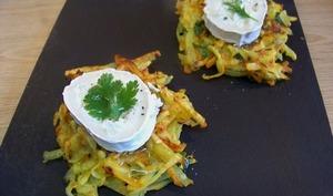Gaufres de pommes de terre et carottes au chèvre, piment d'Espelette et huile de truffe
