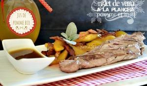 Onglet de veau à la plancha aux pommes, lardons sauce jus de pomme et miel
