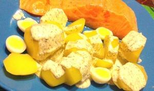 Saumon mariné au citron vert, oeufs de caille et sauce aux herbes