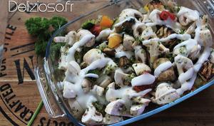 Gratin de poulet et champignons aux légumes du soleil