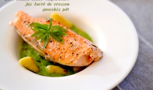 saumon, jus de cresson des fontaines et ses gnochhis de pommes de terre