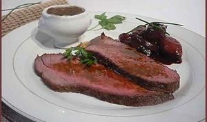 Rôti de bœuf aux échalotes confites