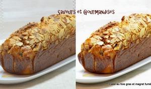 Cake au foie gras et au magret fumé.