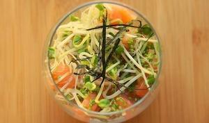 Saumon mariné au wasabi et graines germées