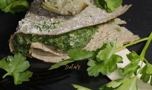 Crêpes au sarrasin, épinards fromage et coeurs d'artichaut