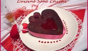 Cœur moelleux au chocolat et sa purée de framboises