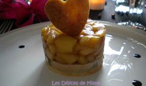 Tatin au foie gras et aux pommes caramélisées flambées au Calvados