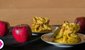 Aumônières au curcuma et aux pommes caramélisées