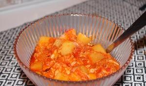 Soupe de tomate, thon et pommes de terre