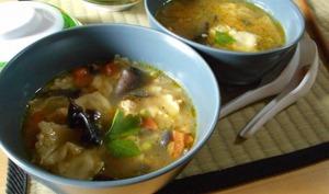 Soupe chinoise au poulet et aux ravioles