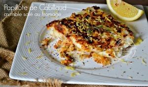 Cabillaud papillote à la poêle et crumble salé au fromage