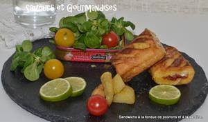 Sandwichs à la fondue de poivrons et sardines façon pain perdu
