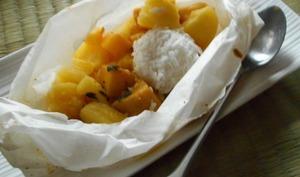 Papillotes de fruits exotiques et perle de coco