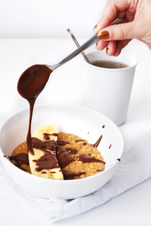 porridge vanille au lait de soja banane et chocolat par cakes nails. Black Bedroom Furniture Sets. Home Design Ideas
