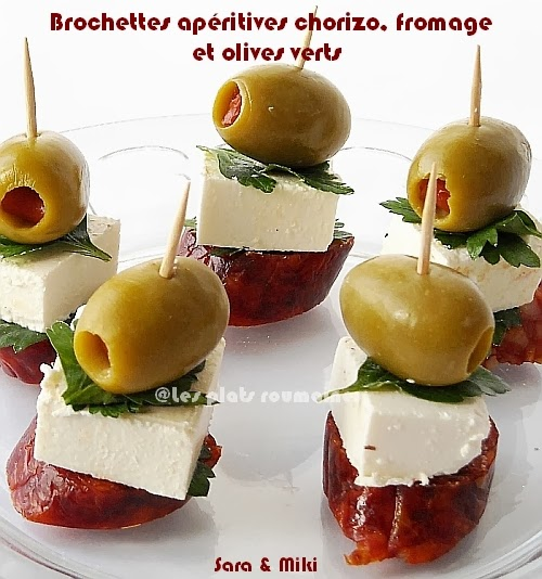 brochettes ap ritives chorizo fromage et olives verts par. Black Bedroom Furniture Sets. Home Design Ideas