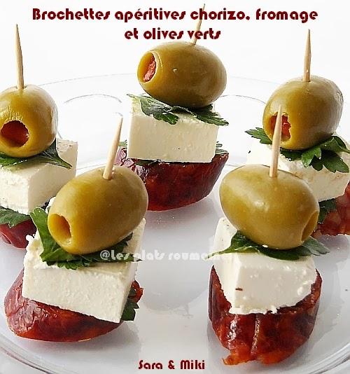 brochettes ap ritives chorizo fromage et olives verts par sara miki. Black Bedroom Furniture Sets. Home Design Ideas