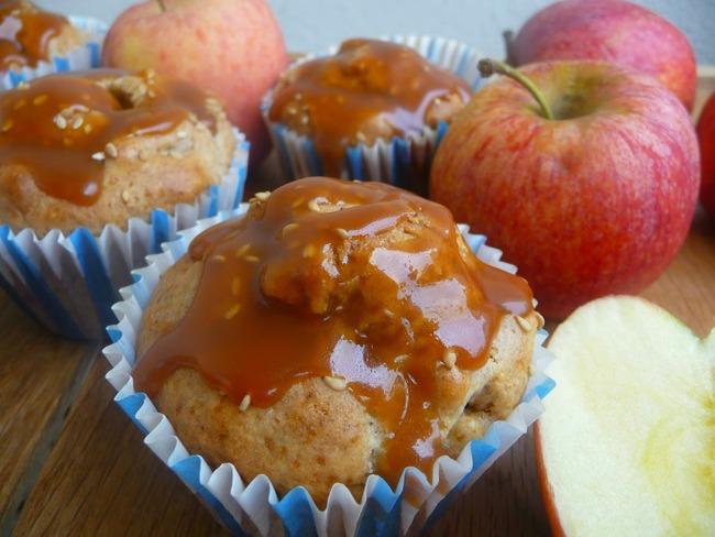 Muffins sésame pommes nappage caramel