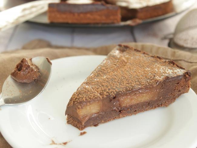 Gâteau tarte chocolat poire