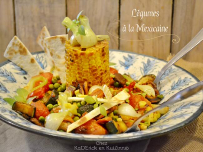 Plancha de légumes grillés à la mexicaine et tortillas