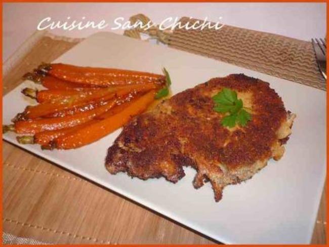 Côtes de porc panées au parmesan et ses jeunes carottes laquées