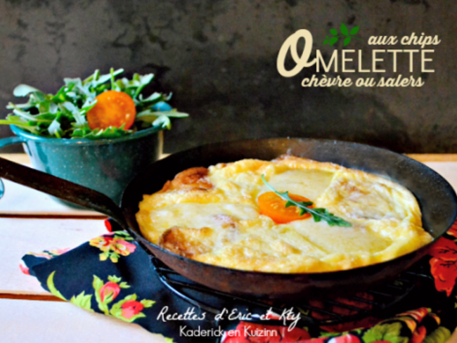 Omelette aux chips de pomme de terre et fromage de chèvre ou cantal salers
