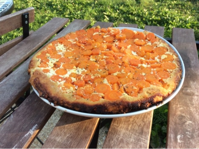 Tarte tatin aux carottes, pâte sablée au parmesan