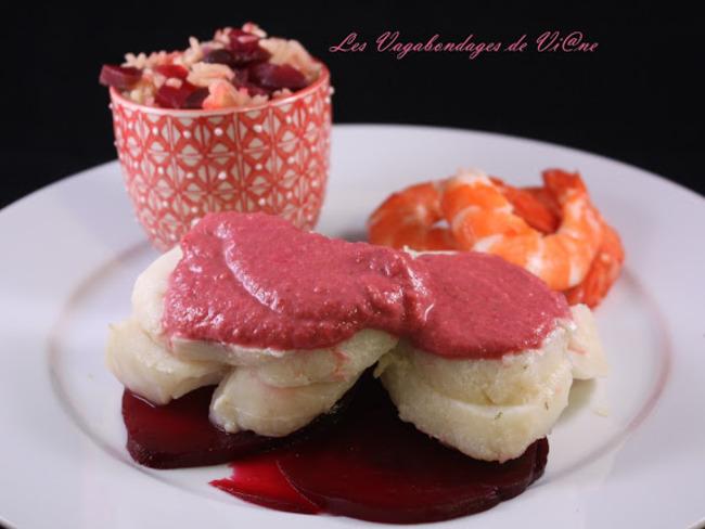 Cabillaud et riz aux betteraves, sauce betterave-framboises