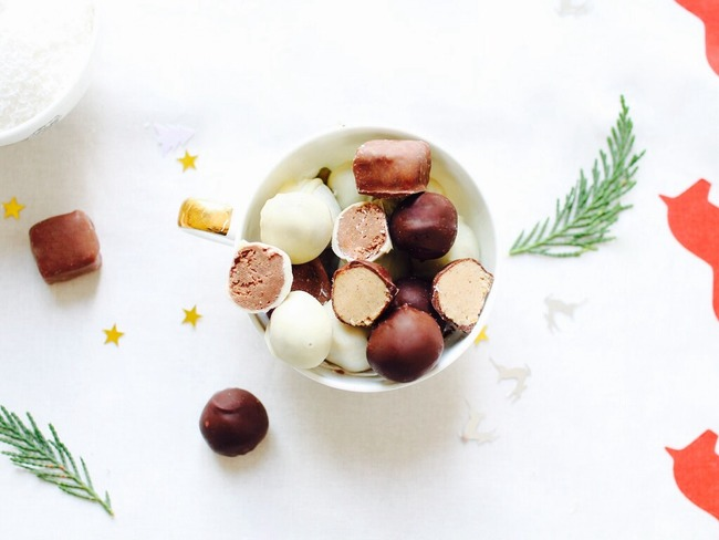 Chocolats de Noël interchangeables au praliné coco