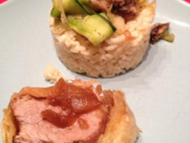 Filet mignon en croûte aux oignons confits & tagliatelles de courgettes
