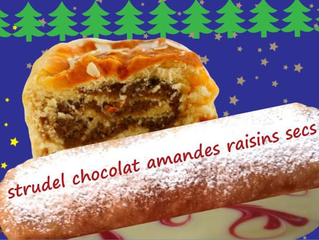Strudel de Noël au chocolat, amandes, raisins secs, graines de pavot