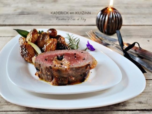 Roti de boeuf farci au foie gras de canard et trompettes de la mort