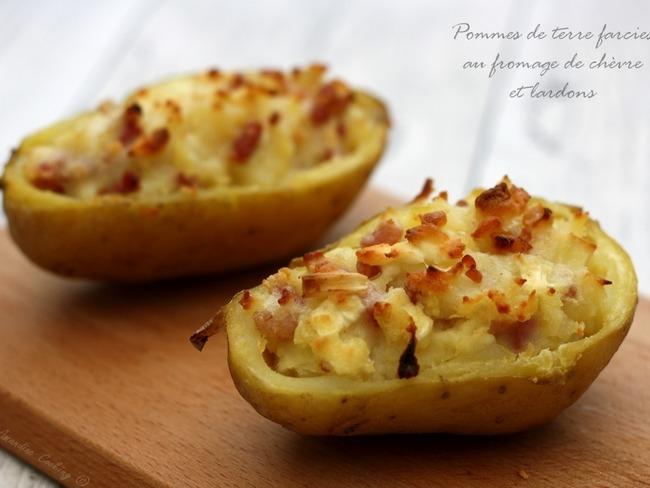 Pommes de terre farcies au chèvre et lardons