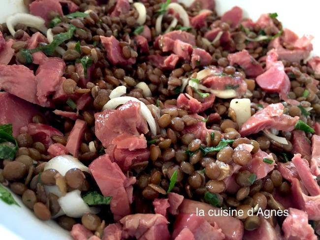 salade de lentilles tièdes aux gésiers confits