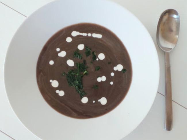 Velouté de champignons et pommes de terre violettes Bleues d'Artois