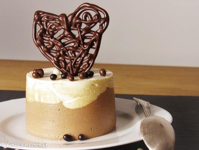 Bavarois de la Saint-Valentin vanille et chocolat