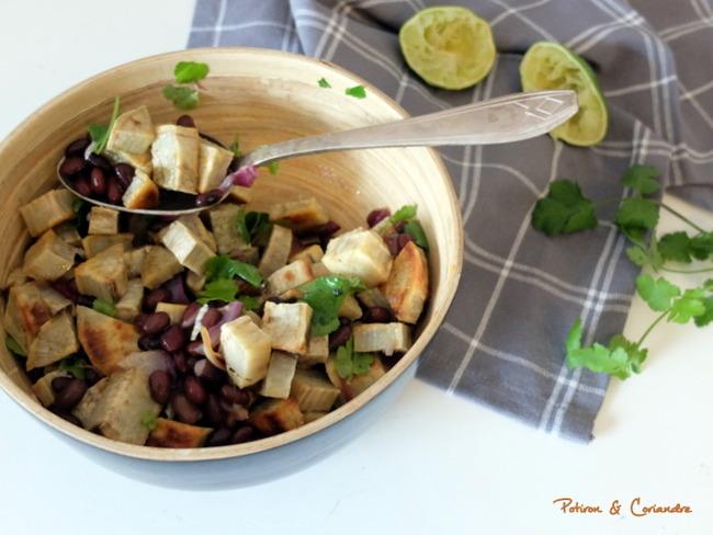 Salade de patate douce et haricots noirs à la coriandre