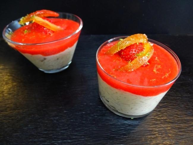 Riz au lait, fève Tonka et Pitacou Kumquat de corse, coulis de fraises