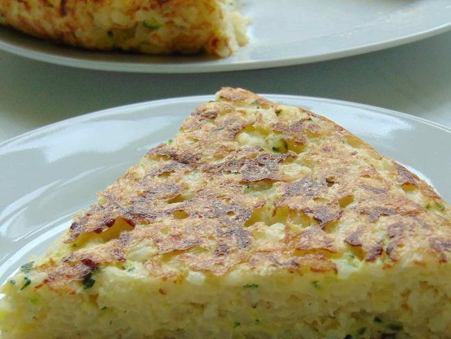 Frittata de riz aux courgettes