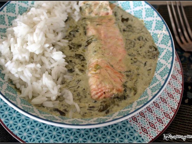 Saumon sauce à l'oseille et riz thai jasmin