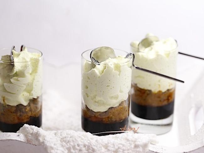 Verrines de chantilly de courgette au caviar d'aubergine et gelée de balsamique