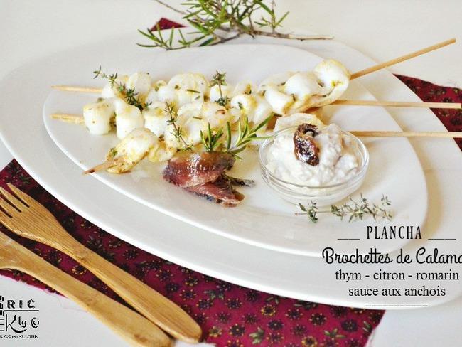 Brochettes calamar à la plancha et sauce anchois
