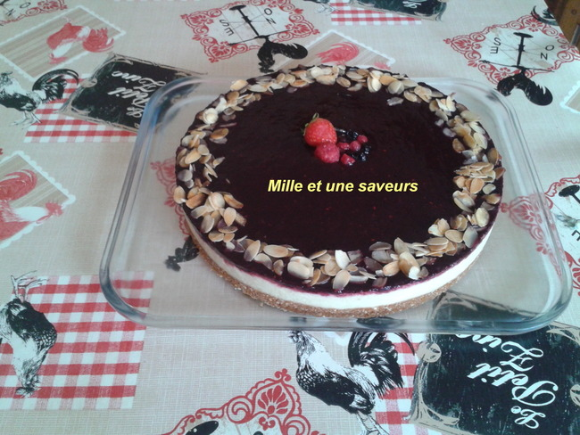 Bavarois rhubarbe et son miroir de fruits rouges