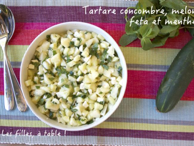 Tartare de concombre, melon, feta et menthe