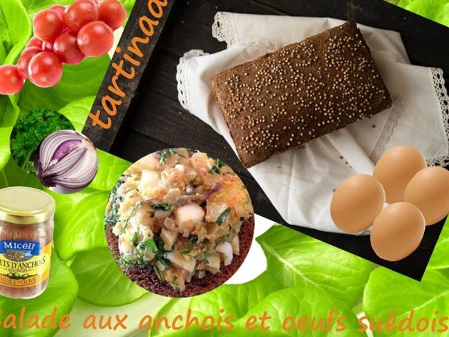 Tartines à la salade d'anchois, tomates cerises, fines herbes