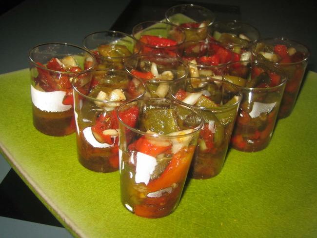Verrines de poivron au balsamique